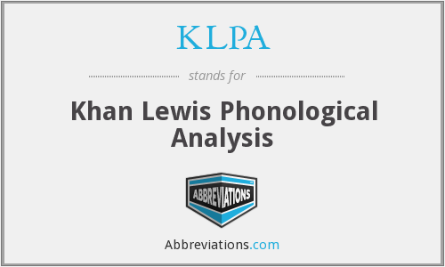 KLPA - Khan Lewis Phonological Analysis
