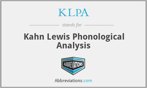 KLPA - Kahn Lewis Phonological Analysis