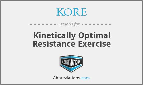 KORE - Kinetically Optimal Resistance Exercise