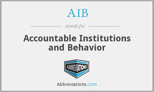 AIB - Accountable Institutions and Behavior