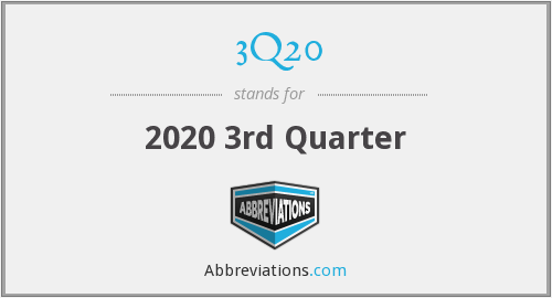 What does 3Q20 stand for?