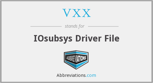 VXX - IOsubsys Driver File