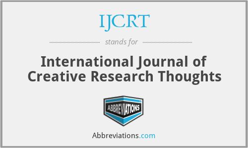 IJCRT - International Journal of Creative Research Thoughts