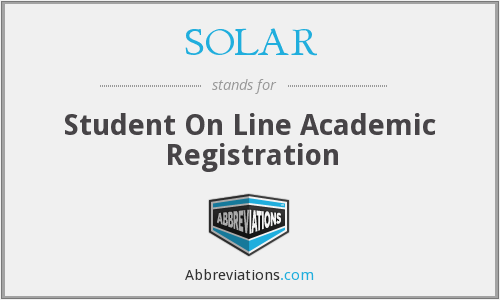 SOLAR - Student On Line Academic Registration