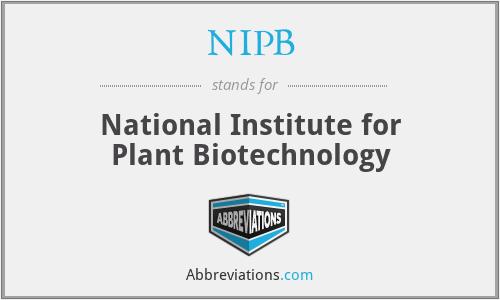 NIPB - National Institute for Plant Biotechnology