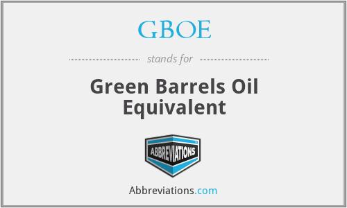 GBOE - Green Barrels Oil Equivalent