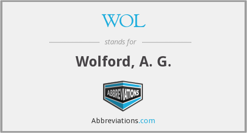 WOL - Wolford, A. G.