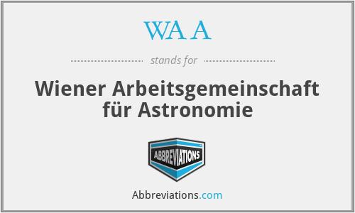 WAA - Wiener Arbeitsgemeinschaft für Astronomie