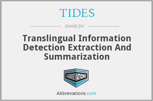 TIDES - Translingual Information Detection Extraction And Summarization
