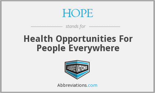 HOPE - Health Opportunities For People Everywhere