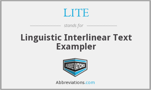 LITE - Linguistic Interlinear Text Exampler