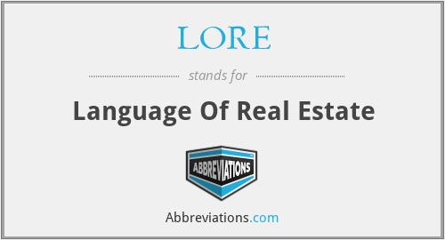 LORE - Language Of Real Estate