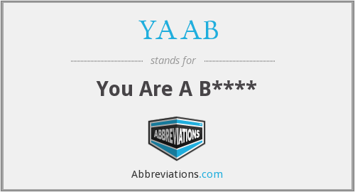 "YAAB - Abbreviation for ""you are a b*tch."""