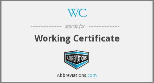 WC - Working Certificate