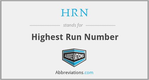 HRN - Highest Run Number