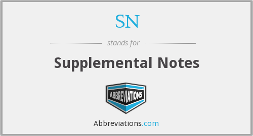 SN - Supplemental Notes