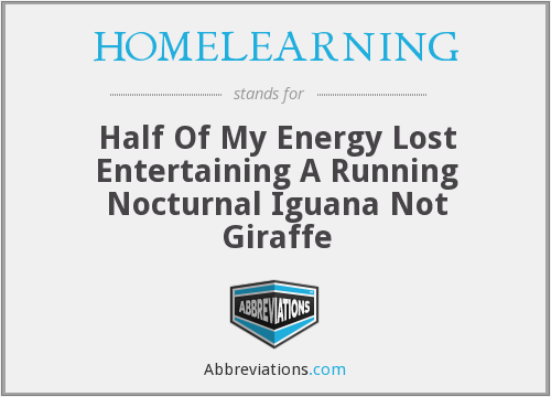 HOMELEARNING - Half Of My Energy Lost Entertaining A Running Nocturnal Iguana Not Giraffe