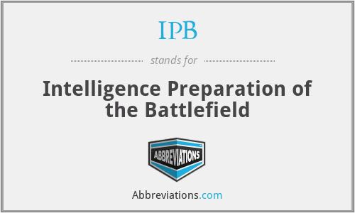 IPB - Intelligence Preparation of the Battlefield