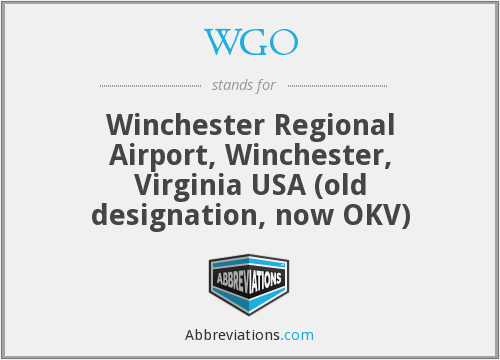 WGO - Winchester Regional Airport, Winchester, Virginia USA (old designation, now OKV)