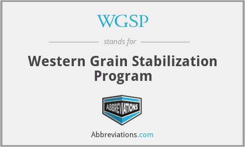 WGSP - Western Grain Stabilization Program