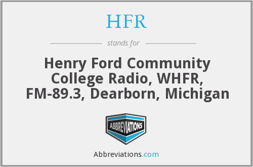 HFR - Henry Ford Community College Radio, WHFR, FM-89.3, Dearborn, Michigan