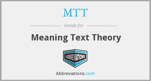 MTT - Meaning Text Theory