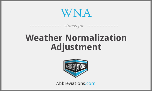 WNA - Weather Normalization Adjustment