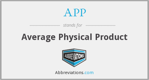 APP - Average Physical Product