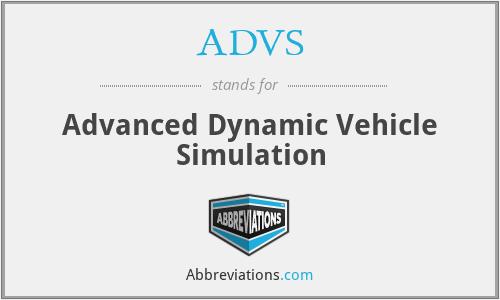 ADVS - Advanced Dynamic Vehicle Simulation