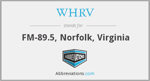 What does WHRV stand for?