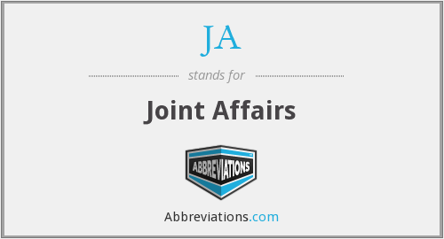 JA - Joint Affairs