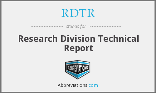 RDTR - Research Division Technical Report