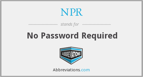 NPR - No Password Required