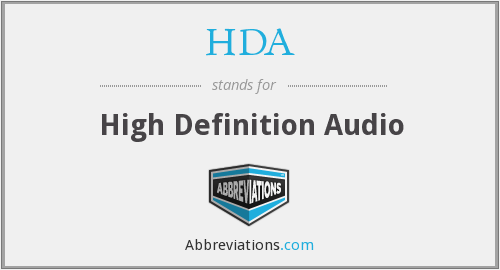 HDA - High Definition Audio