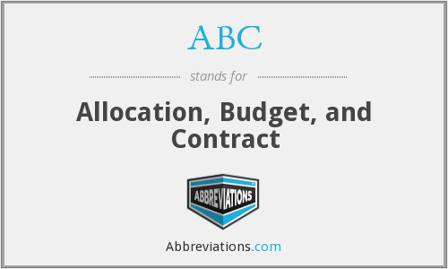 ABC - Allocation, Budget, and Contract