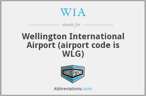 WIA - Wellington International Airport (airport code is WLG)