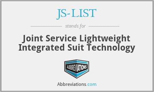 JS-LIST - Joint Service Lightweight Integrated Suit Technology