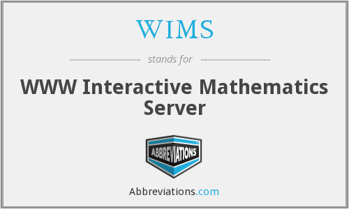 WIMS - WWW Interactive Mathematics Server