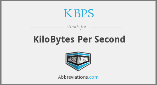 KBPS - KiloBytes Per Second