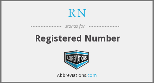 RN - Registered Number