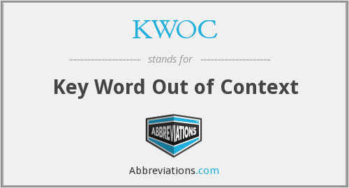 What does KWOC stand for?