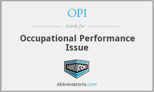 OPI - Occupational Performance Issue
