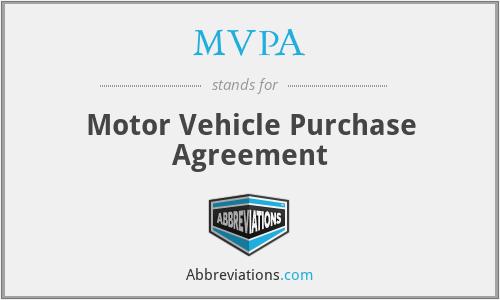 MVPA - Motor Vehicle Purchase Agreement