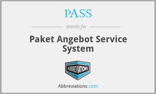 PASS - Paket Angebot Service System