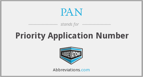 PAN - Priority Application Number
