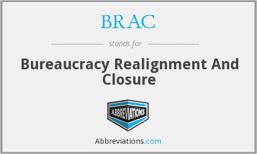 BRAC - Bureaucracy Realignment And Closure