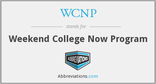 WCNP - Weekend College Now Program