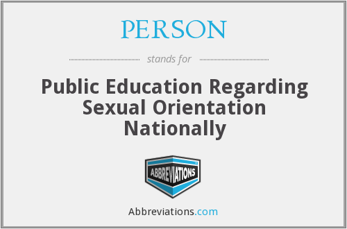 PERSON - Public Education Regarding Sexual Orientation Nationally