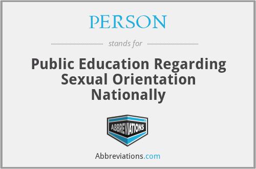 PERSON - Public Education Regarding Sexual Orientation Nationally