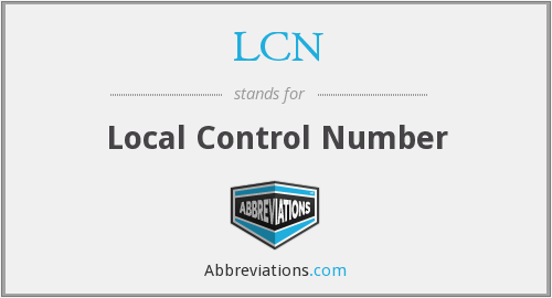 LCN - Local Control Number